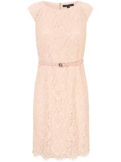 Kanten jurk met ondoorschijnende, dubbele voering lichtroze