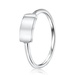Zilveren ring graveerplaat rhodiumplated