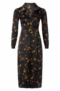 70s Magnolia Floral Midi Dress in Black