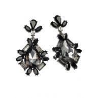 Oorstekers met kristalstenen zwart/grijs