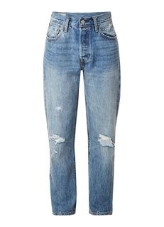 501 cropped high rise regular fit jeans met destroyed detail