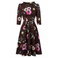 50s Poppy Swing Dress in Chocolate