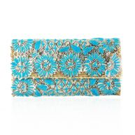Printed Flower Clutch - Light Blue
