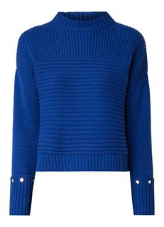 Cropped ribgebreide pullover in wolblend