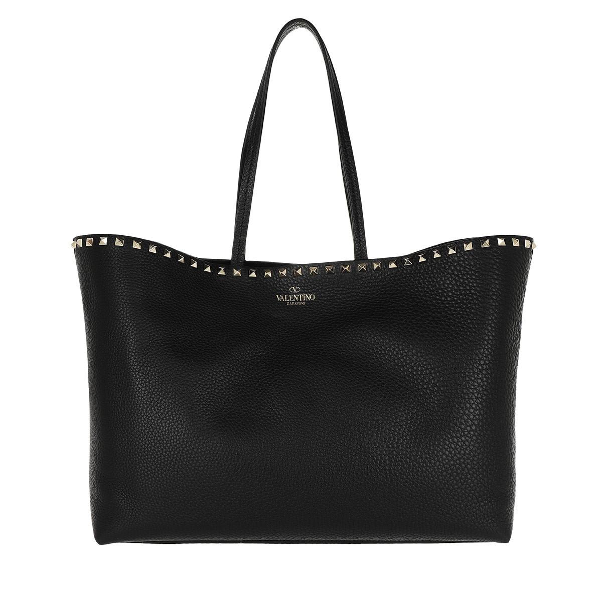 Valentino Borse A Tracolla - Stallone Roccia Costellate Nera Shopping Bag In Pelle Di Colore Nero Per Le Donne BuTZDaLac