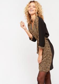 Rechte jurk met luipaardprint