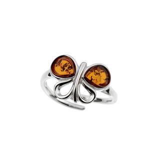 Zilveren ring met Baltische barnsteen ()