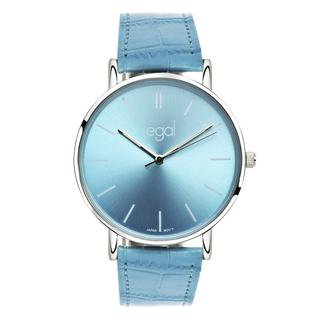 Slimline horloge blauwe leren band R16280-32