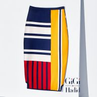 Viscose patchwork kokerrok Gigi Hadid