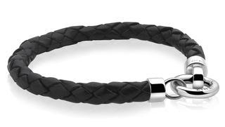 leren armband zwart met sluiting 19cm ZIA731Z-S