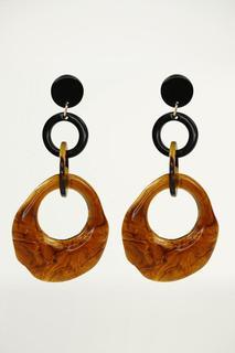 Brown Resin Hoops Earrings