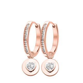 Stalen oorbellen rose met hanger hart kristal