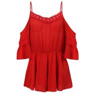 Lace Playsuit - Red