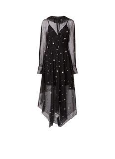 Restar maxi-jurk van mesh met sterrendessin
