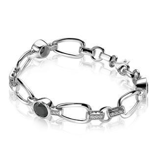 zilveren armband zwart 19cm ZIA576Z