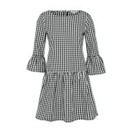 Jurk 'check dress with frill sleeve'