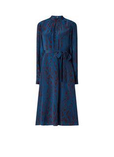 L.K.Bennett Dora midi-jurk van zijde met zebradessin en strikceintuur