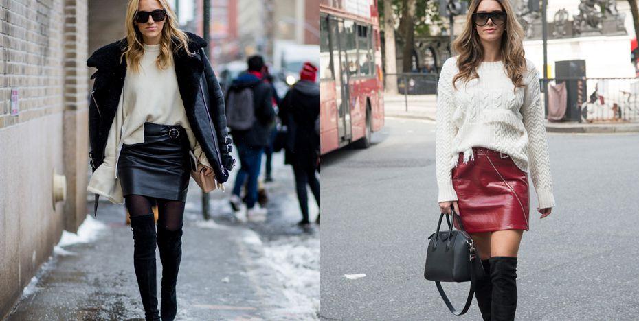 Overknees met een mini rok