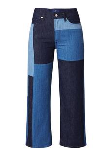 Marnie high waist cropped flared jeans met patchwork