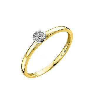 Gold 14 karaat gouden aanschuifring rond wit ZGR147