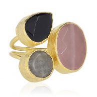 My Jewellery Gold Trio Gem Ring - Gold Rosequartz Black