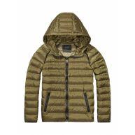 Maison Scotch Jas ultralight hooded down jacket army green groen