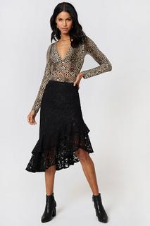 Lace Frill Midi Skirt