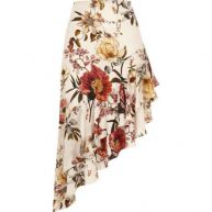 Crème asymmetrische rok met ruches aan de zoom en bloemenprint
