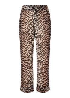 Mullin Georgette palazzo broek van chiffon met luipaarddessin