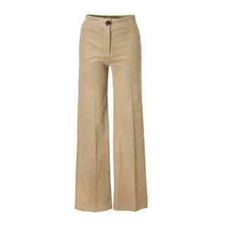 high waisted corduroy palazzo broek beige (dames)