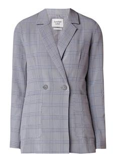 Longchamp double breasted blazer met ruitdessin