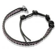 Zinzi zwart leren armband paarse beads one-size ZIA756ZP