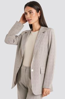 Check Straight Fitted Blazer