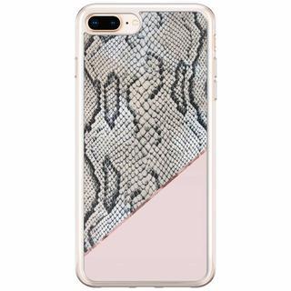 iPhone 8 Plus/7 Plus siliconen hoesje - Slangenprint roze