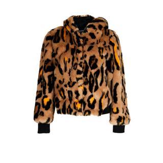imitatiebont tussenjas met panterprint bruin/zwart/oranje Imitatiebont jas (Dames) - Dames