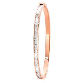 Stalen armband bangle roseplated met zirkonia