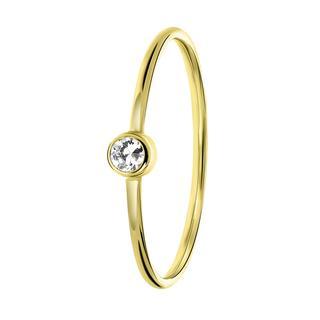 14 karaat geelgouden ring met witte zirkonia steen