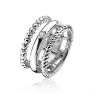 ZINZI zilveren multi-look ring breed wit ZIR1374