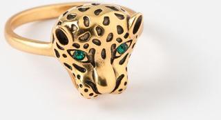 ring - met tijger hoofd en groene ogen - goudkleurig - 1,8 cm