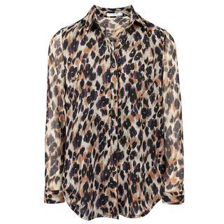 Blouse luipaard & mesh
