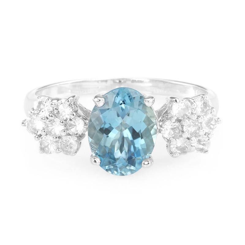 Anello D'argento Con Un Juwelo Santamaria-acquamarina