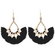 Bead tassel earrings black - gold/silver