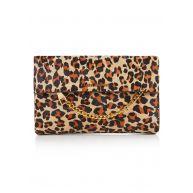 Karen Millen Chain Zip clutch van ponyhair met luipaarddessin