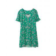 Korte jurk met stoffen knopen Smaragdgroen