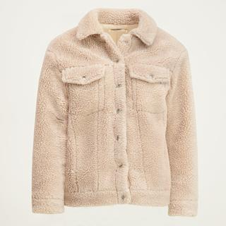 Beige oversized teddy jas