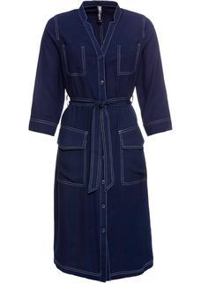 Dames spijkerjurk met contrastnaden lange mouw in blauw