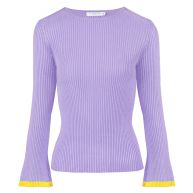 Flared Sleeve Top - Lilac/Yellow