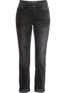 Dames boyfriend jeans met sterren in zwart