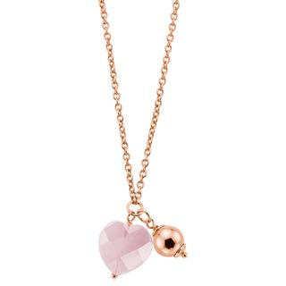 Eve rose plated ketting & hanger lichtroze steen