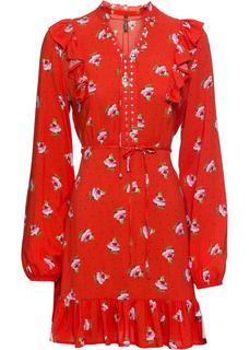 Dames jurk lange mouw in rood